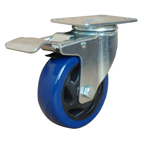 Blue medium duty swivel caster with total brake